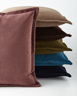 """Henri"" Flanged Velvet Pillow"