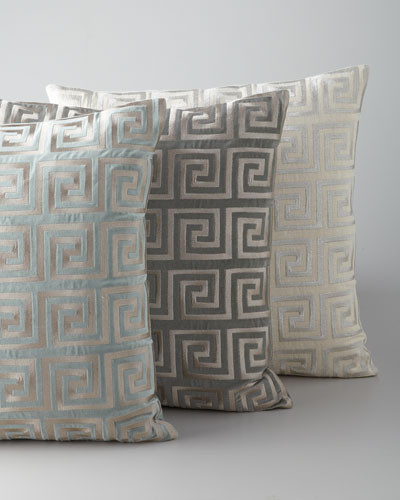 Greek Key Metallic Accent Pillow