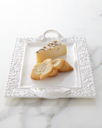 Bianca Leaf Rectangular Handled Platter