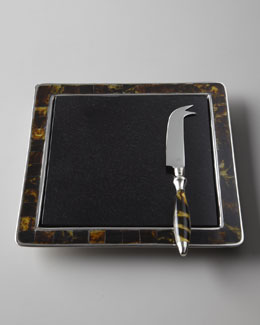 "Lauren Ralph Lauren ""Tortoise"" Cheese Board and Knife"