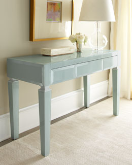 Light Blue Translucent Glass Desk
