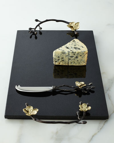 Gold Orchid Cheese Board & Knife