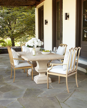 Alexandra Outdoor Double-Urn Pedestal Table & Neoclassical Dining Chair