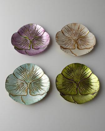 Four Floral Dessert/Canape Plates