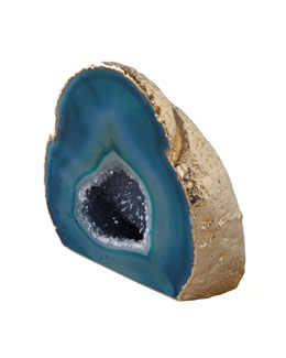 AERIN Green Agate Geode With Gold