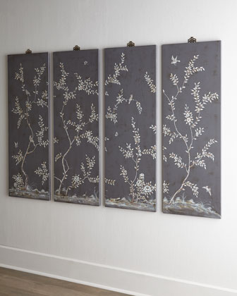 Four Bird & Vine Wall Panels