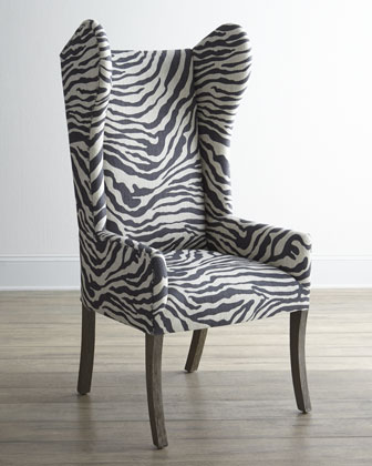 Kayla Zebra-Print Wingback Chair