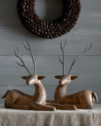 Two Wood Deer With Metal Antlers