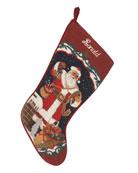 Holiday Needlepoint Christmas Stocking, Personalized