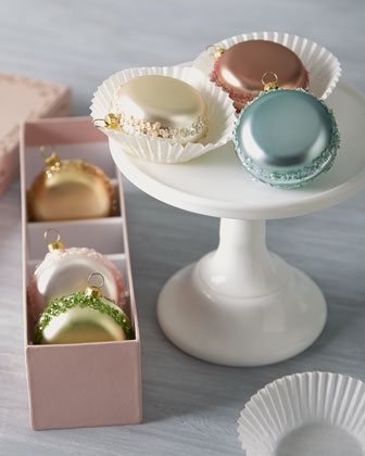 Six French Macaron Glass Christmas Ornaments