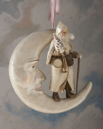 Santa on Hanging Moon Figure