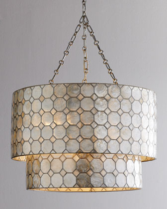 Smoked Capiz Two-Tier Three-Light Pendant