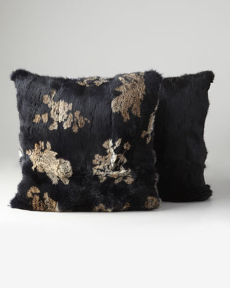 Brocade-Print Rabbit Pillow, 20