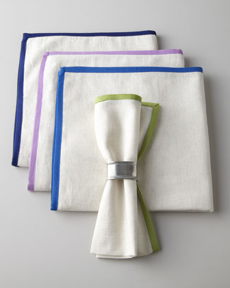 Four Piping-Trimmed Napkins
