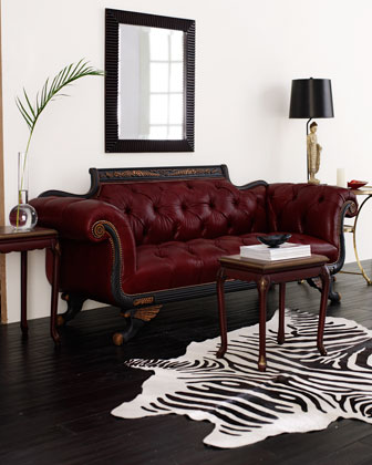 Red Tufted-Leather Sofa