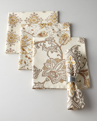 Four Block-Print Dinner Napkins