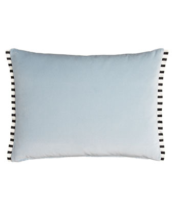 Charlottenberg Blue Velvet Pillow with Striped Silk Trim, 24