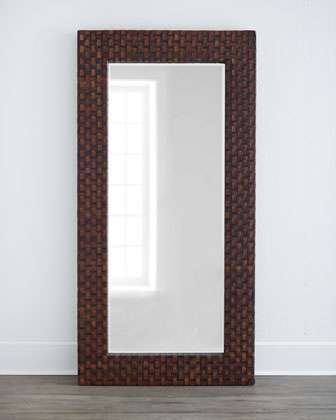 Antonia Leather-Framed Mirror