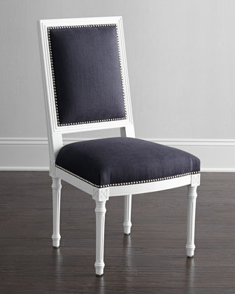 Navy Louis Side Chair