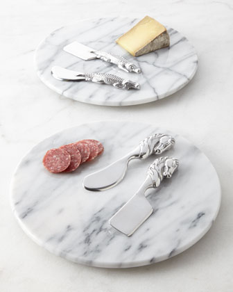 Three-Piece Marble Cheese Set