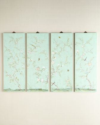 Four Kariya Turquoise Floral Wall Panels