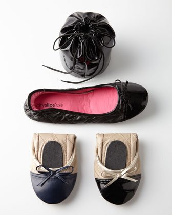 Quilted Cap-Toe Travel Flats