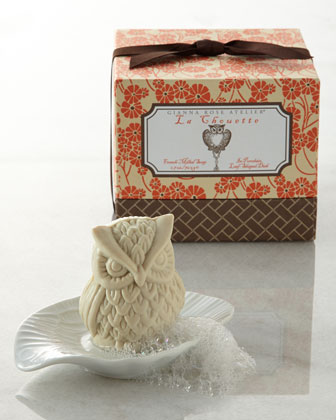 Owl Soap with Leaf Soap Dish