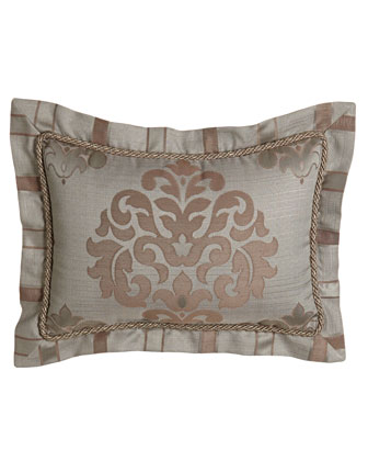 Damask Pillow w/ Striped Flange, 13