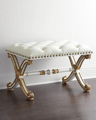 Bonelli Tufted Leather Bench