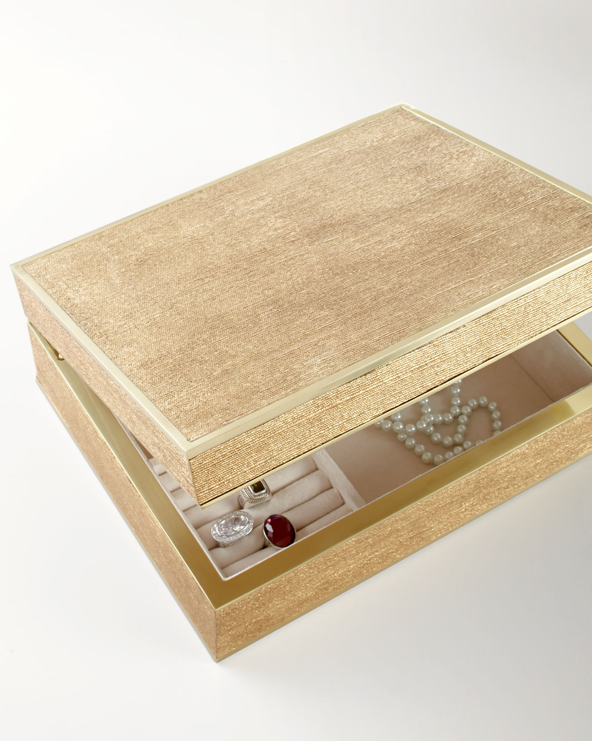 Large Gold Linen Jewelry Box - AERIN