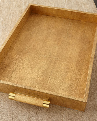 Gold Linen Rectangular Tray
