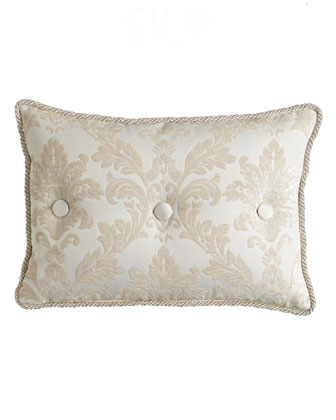 Damask Pillow w/ Silk Button Detail, 14