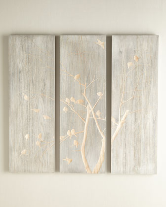 Three-Piece Willow & Bird Wall Panel