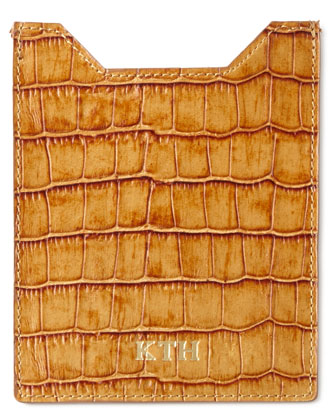 Crocodile-Embossed Luggage Tag, Passport Sleeve, & Travel Organizer