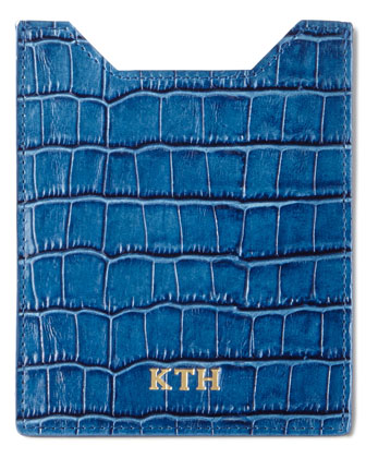 Crocodile-Embossed Luggage Tag, Passport Case, & Travel Organizer