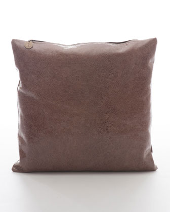 Crackled Leather Pillow, Cocoa