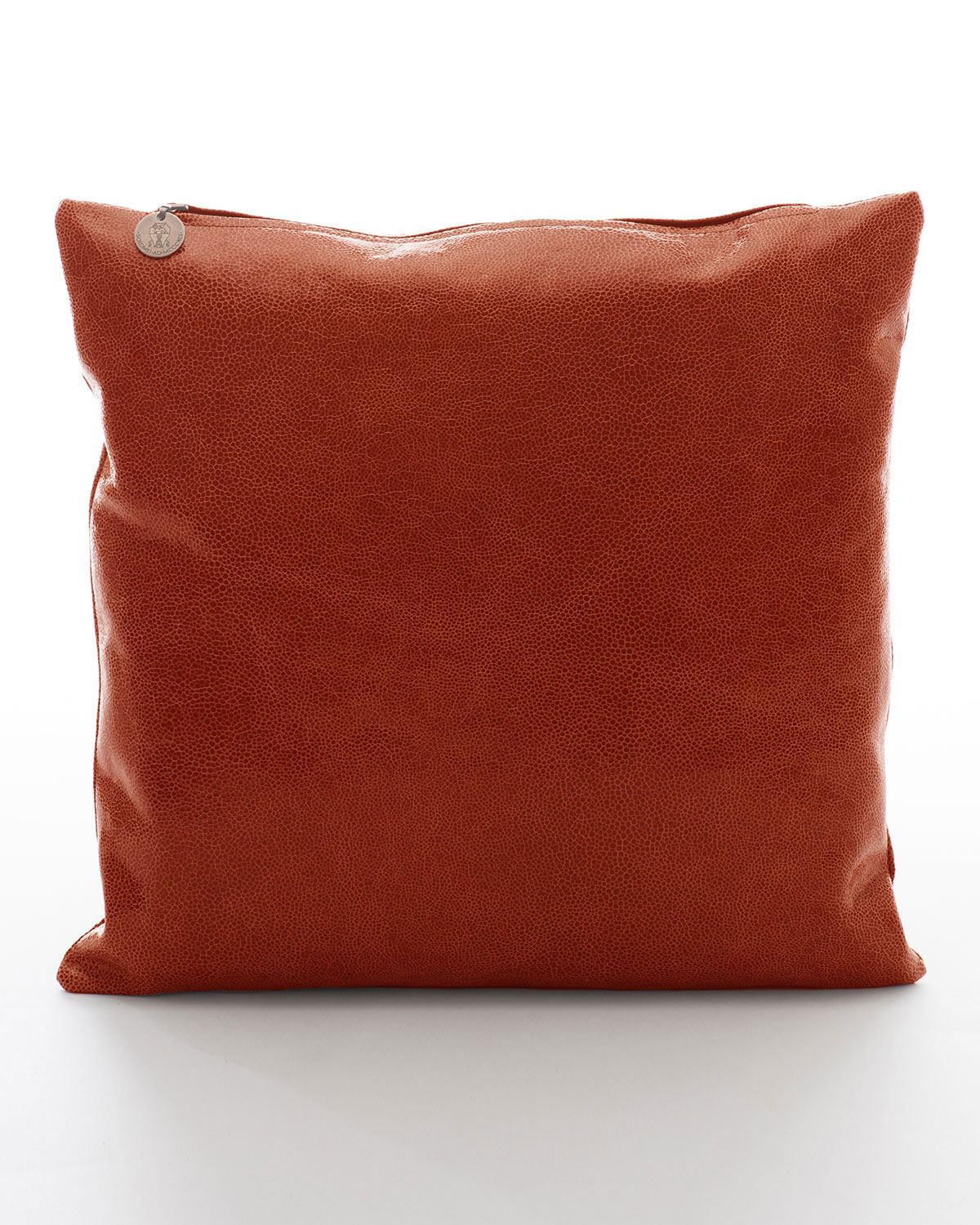 Crackled Leather Pillow, Ginger   Brunello Cucinelli