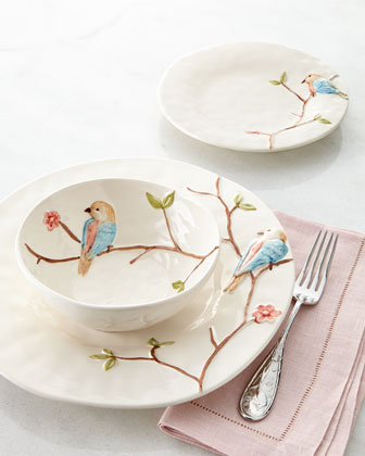 12-Piece Colored Bird on Branch Dinnerware Service