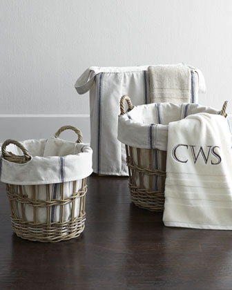 Large Wicker Laundry Basket with Bryn Liner