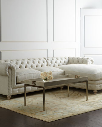Warner Linen Sectional Sofa, Right-Arm Facing
