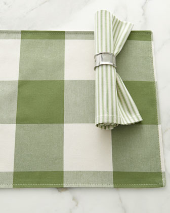 Green & White Tablecloth, Table Topper, Placemats, & Napkins