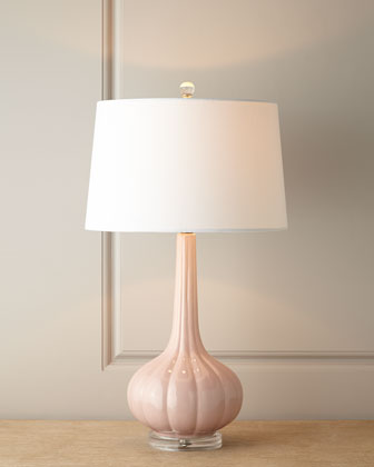 Pastel Pink Fluted Ceramic Lamp