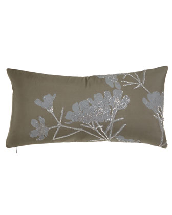 Floral Pillow w/ Embroidery & Beading, 11