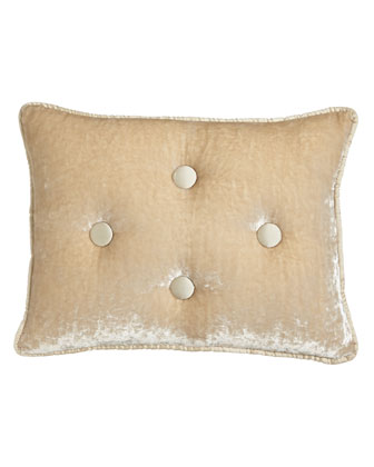 Velvet Boudoir Pillow with Silk Dupioni Buttons & Piping, 12