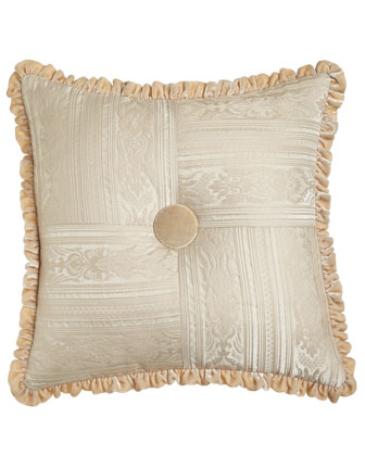 Le Creme Maison Pieced Pillow with Velvet Button & Ruffle, 20