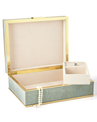 Large Green Shagreen Jewelry Box