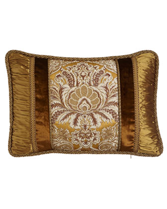 Stately Elegance Brocade Pillow with Shirred Silk Sides & Velvet Insets, ...