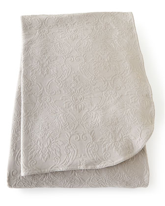 Dove Gray Floral Matelasse Coverlet