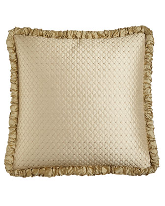 Diamond-Stitch European Sham with Ruched Welt