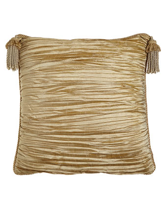 Pleated Silk European Sham with Tassels